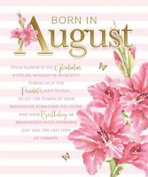 Born In August Female Flower & Word Design Happy Birthday Card Lovely Verse