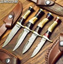 LOUIS MARTIN CUSTOM HANDMADE DAMASCUS ART A LOT OF 5 SKINNER KNIFE STAG ANTLER