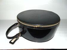 VTG 50s Round Daisy Hatbox Train Case Suitcase Shiny Black Zips Stage Photo Prop