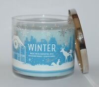 BATH & BODY WORKS WINTER SCENTED CANDLE 14.5 OZ 3 WICK LARGE BLUE SNOWY SCENE