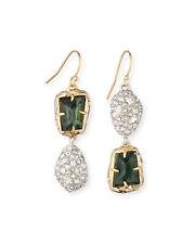Alexis Bittar 10-Karat Double-Drop Green Crystal Double-Tone Dangle Earrings