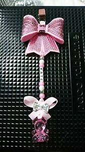Personlised any name lovely girls pram charm with teddy on stunning gift