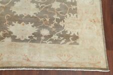 Antique VEGETABLE DYE Oushak Turkish Area Rug Muted Brown Living Room Wool 9x12