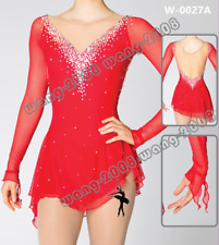 Girl Competition Figure skating Dress Ice Skating Dress Costume Sparkle Red Y096