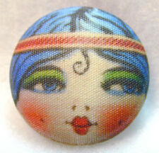 """1920s Flapper Girl Button Hand Printed Fabric """" Spit Curl """"  FREE US SHIPPING"""