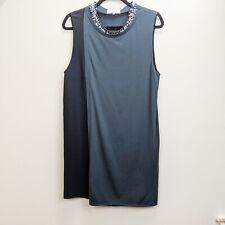 3.1 Phillip Lim Shift Dress Medium Knit Black Gray Beaded Collar Stretch