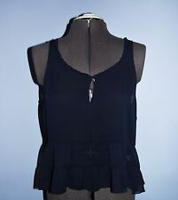 NWT Women's Abercrombie & Fitch Ruffled Bottom Cami Tank Top Size: M Dark Blue