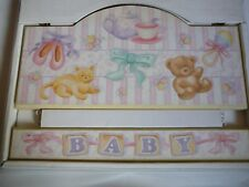 Babys Wall Plaque Decorative Baby Girl It's A Girl Ballet Shoes Kittens Wood NIB