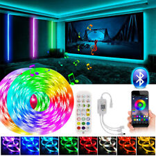 50ft Bluetooth 5050 LED Strip Lights 2*25ft/roll Music Sync Remote Room Lights