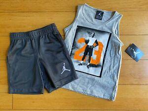 Little Boys Nike Air Jordan 2 Piece Shirt & Shorts Set Grey Orange Sizes 4,5,6,7