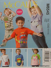 McCall's 6545 Sewing PATTERN for Children's APPLIQUE TOPS SHIRTS Sz 2-3-4-5 NEW