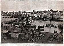 Taranto:Panorama da Porta Napoli.Grande Veduta.Salento.Puglia.Stampa Antica.1899