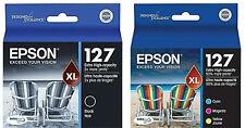 Set 4 GENUINE Epson Printer ink 127 _T1271 Black T127520 CMY (T1272 T1273 T1274)