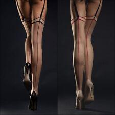 Bas sexy nylon chair couture rouge ou noir pour porte-jarretelles FIORE T23456