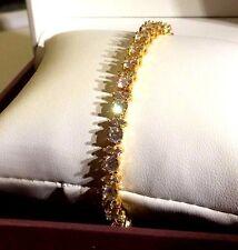 "GB White 4mm sim 'diamond', 7.2""  tennis bracelet, 18k gold filled BOXED Plum UK"