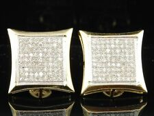 Diamond Kite Shaped Earrings Mens 10K Yellow Gold Round Pave Set Studs 0.75 Tcw.