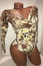 Beautiful cotton top bodysuit S long sleeve thong bottom leotard