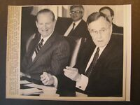 AP Wire Press Photo 1990 Pres George Bush with Secretary of State James Baker