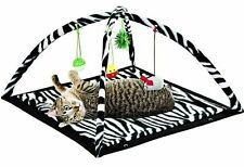 "Zebra Print Cat Play Tent with Dangle Toys Pet Interactive Kitty 22""x23""x13 New"