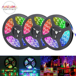 49FT Flexible LED Strip Lights 3528 RGB SMD Remote Fairy Room TV Party Bar 15m
