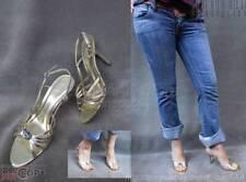 EUC$70 ALDO Gold Metallic Leather Strappy Eve Sandal Heels Shoes 40/10 Grovecity