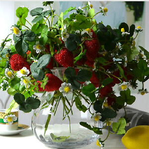 Christmas Home Furniture Decor 6pcs x 3 Branch Artificial Strawberry Fruit Plant