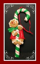 Gingerbread Man Cookie Christmas Tree Ornament  - Green Candy Cane