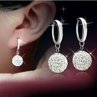 Fashion 18K White Gold Filled Earrings Rhinestone Crystal Hoop Stud Women Hot