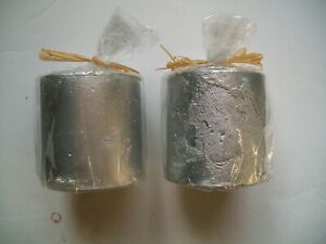 Set of Two Medium Sized Pillar Candles - Silver Coloured - Brand New - Free Post