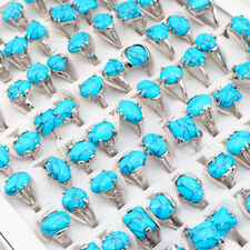 50 pcs/lot blue natural stone alloy rings party fashion jewellery