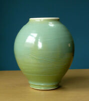 Celadon Studio Pottery Vase Vessel Pot Green Blue Contemporary Ceramics Art
