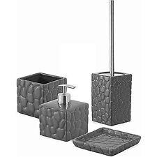 Set accessori bagno da appoggio in ceramica grigio dettagli acciaio serie Sasso