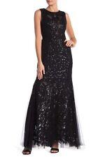 STUNNING Vera Wang Black Sequin Evening Dress Gown Size USA 2 UK 6