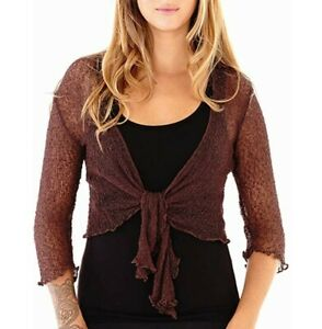 Brown Sheer Shrug Tie Top Open Front Cardigan Lightweight Knit ONE SIZE FITS ALL