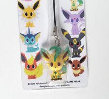 Japanese Pokemon Time Center Leafeon strap figure charm keychain plastic sitting