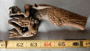 Antique folk art carved wooden whistle Native American? Mayan 19th century horse