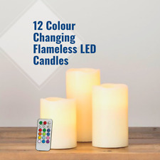 Pack of 3 LED 12 Colour Changing Real Wax Candles Flameless Remote Control Light