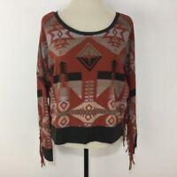 Denim Supply Women Top Sweatshirt Long Fringe Sleeve Southwest Pattern Sz M NEW