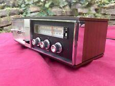 Mid Century Vintage Silver Faux Wood Radio & Analog Telechrone Clock Made Japan