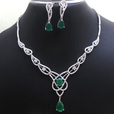 Green Emerald CZ Necklace Earring 925 Sterling silver wedding Jewelry Set sale