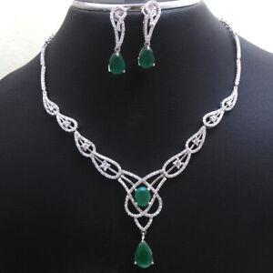 Green Emerald CZ Necklace Earring 925 Sterling silver wedding Jewelry Set sale