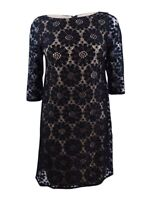 Jessica Howard Women's Petite Illusion-Sleeve Lace Sheath Dress 14P, Black/Tan