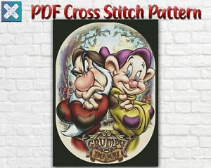 Disney Grumpy And Dopey Snow White Counted PDF Cross Stitch Pattern Needlework