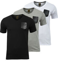 Men Tshirt Casual PU Pocket V-Neck Short Sleeve T shirt Top Tee Size S-XL