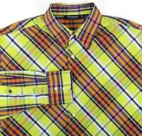 Southpole Mens Long Sleeve Shirt Size XL Signature Series Lime Orange Blue Plaid