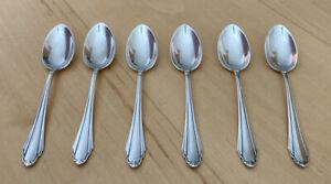 6 alte Teelöffel versilbert, Martin 90, Silberbesteck / Silberauflage, gebraucht