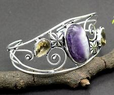 Silver Plated Jewelry Cuff Bracelet S-7-8 Carve Amethyst & Smoky Quartz Gemstone