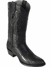 LOS ALTOS MEN BLACK GENUINE OSTRICH LEG ROUND TOE WESTERN COWBOY BOOT