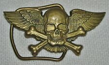 1970's BRASS WINGED SKELETON SKULL CROSS-BONES BBB BARON BELT BUCKLE HARLEY 1979