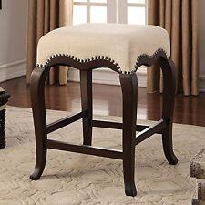 Acme Furniture 96614  Kakabel Counter Height Stool-1Pc , Cream Fabric & Espresso